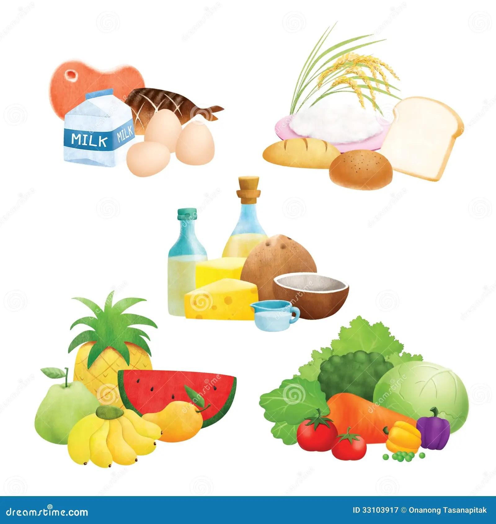 Cinq Illustrations De Groupe D Aliments Illustration Stock