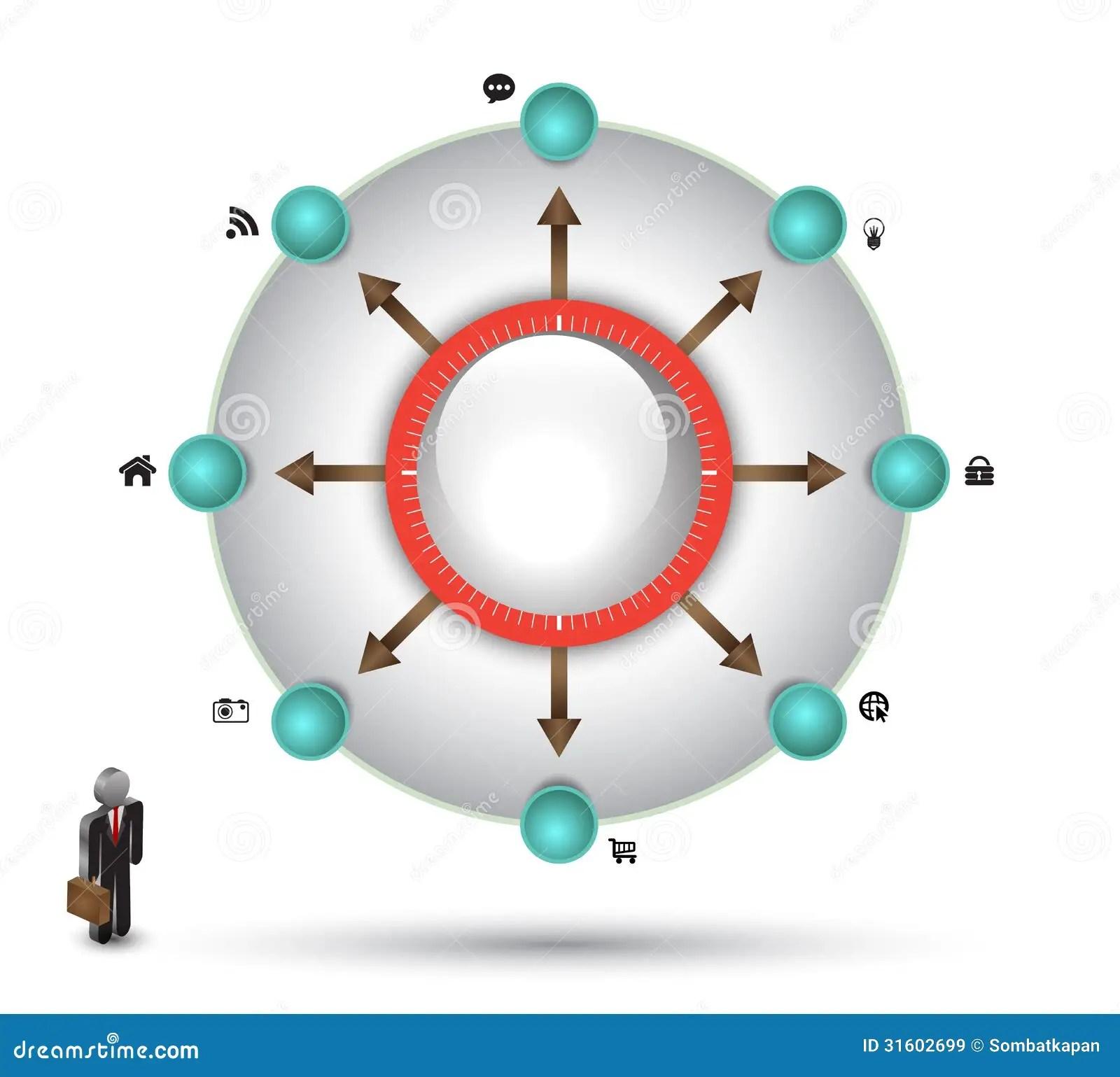 free circular arrow diagram template 3d origami pokeball circle vector with icon royalty