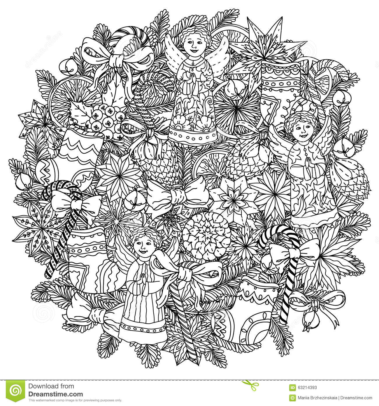 circle christmas doodle coloring page | christmas coloring pages