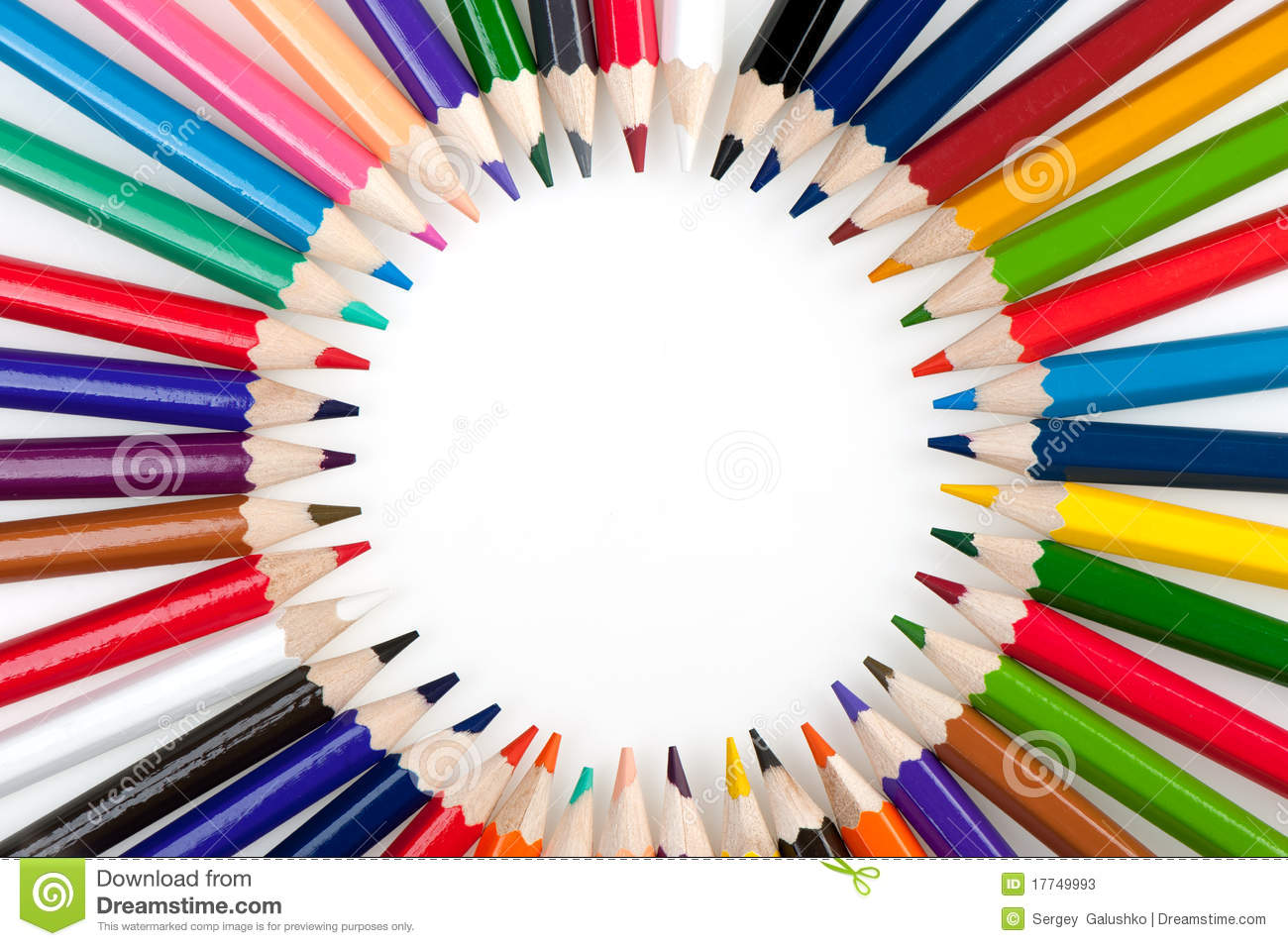 Circle From Color Pencils Stock Image Image Of Green