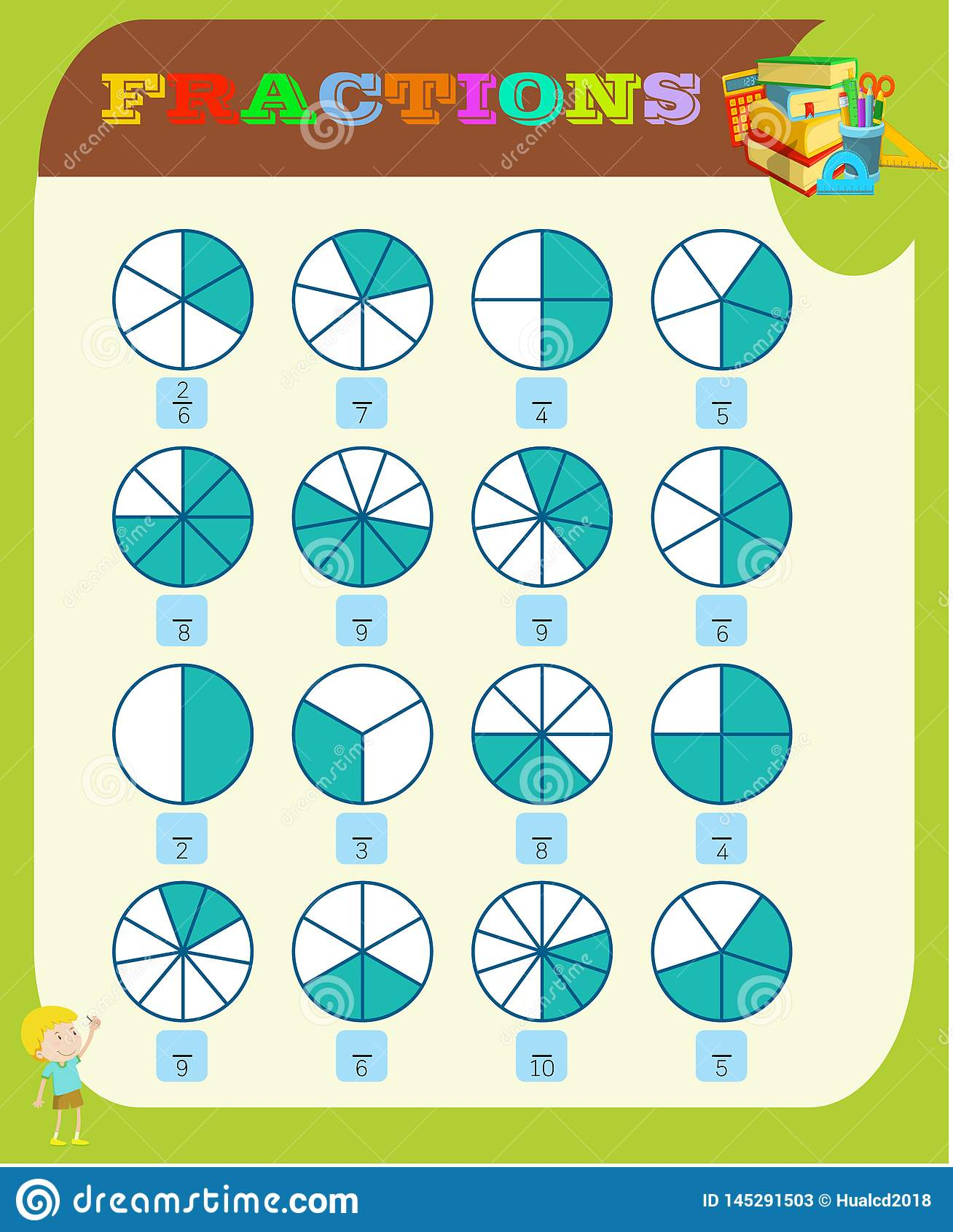 Circle The Correct Fraction Mathematics Math Worksheet