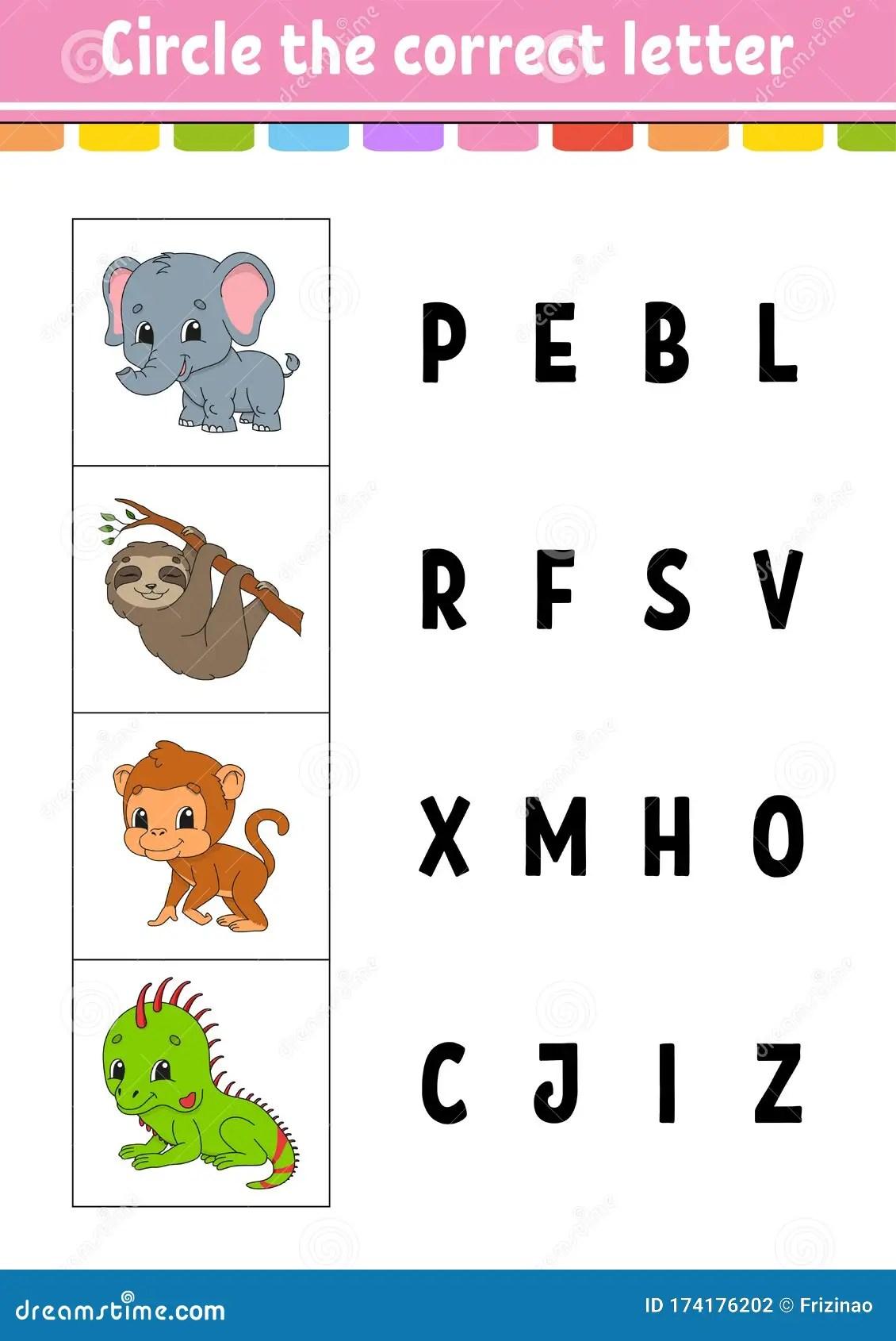 Circle The Correct Letter Monkey Elephant Sloth Iguana