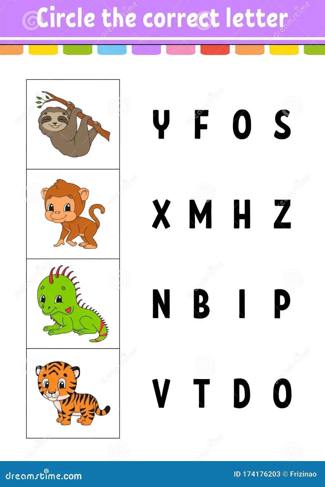 Circle The Correct Letter Tiger Monkey Sloth Iguana