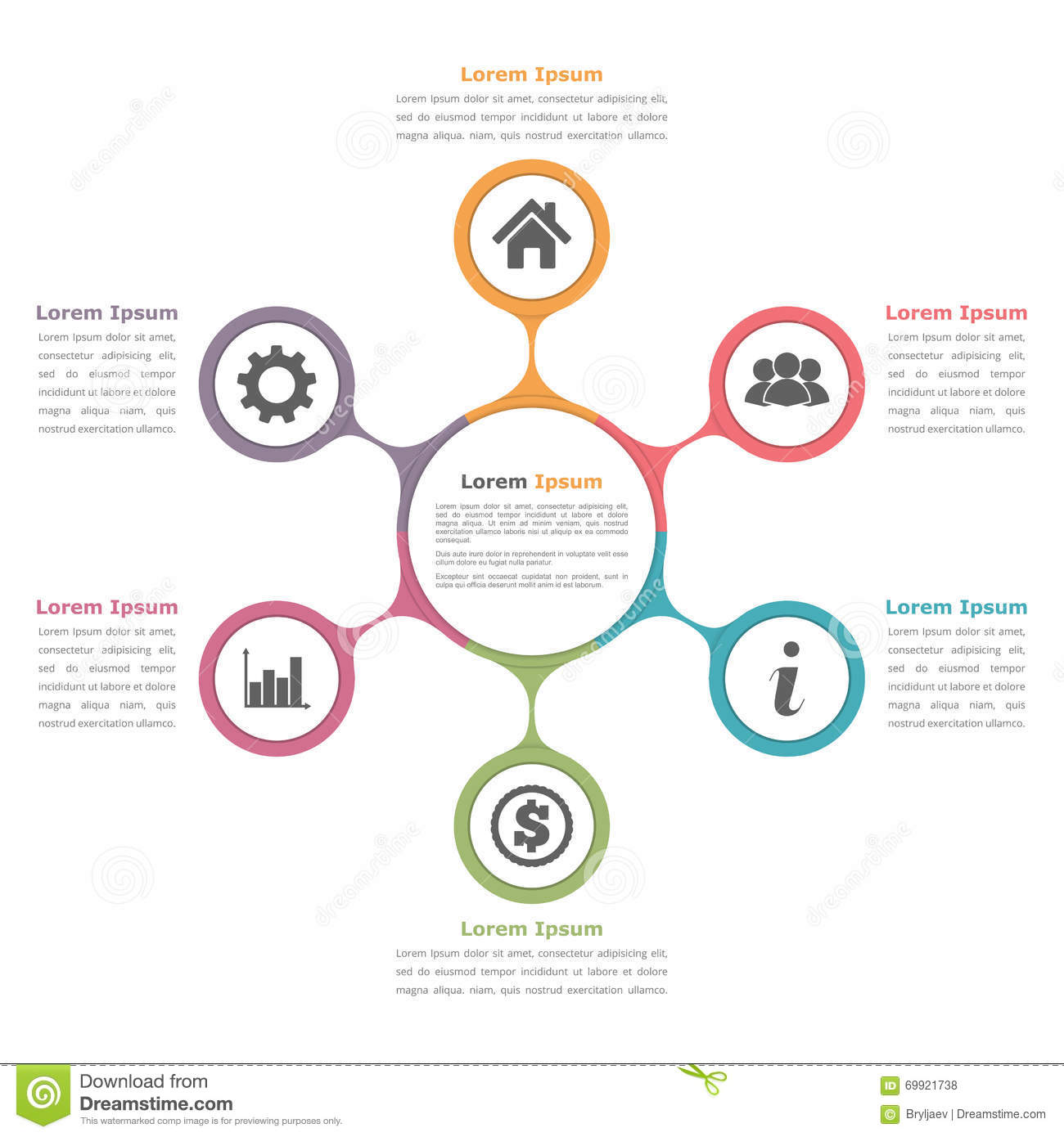 circular diagram flow chart template energy pyramid circle with six elements stock vector