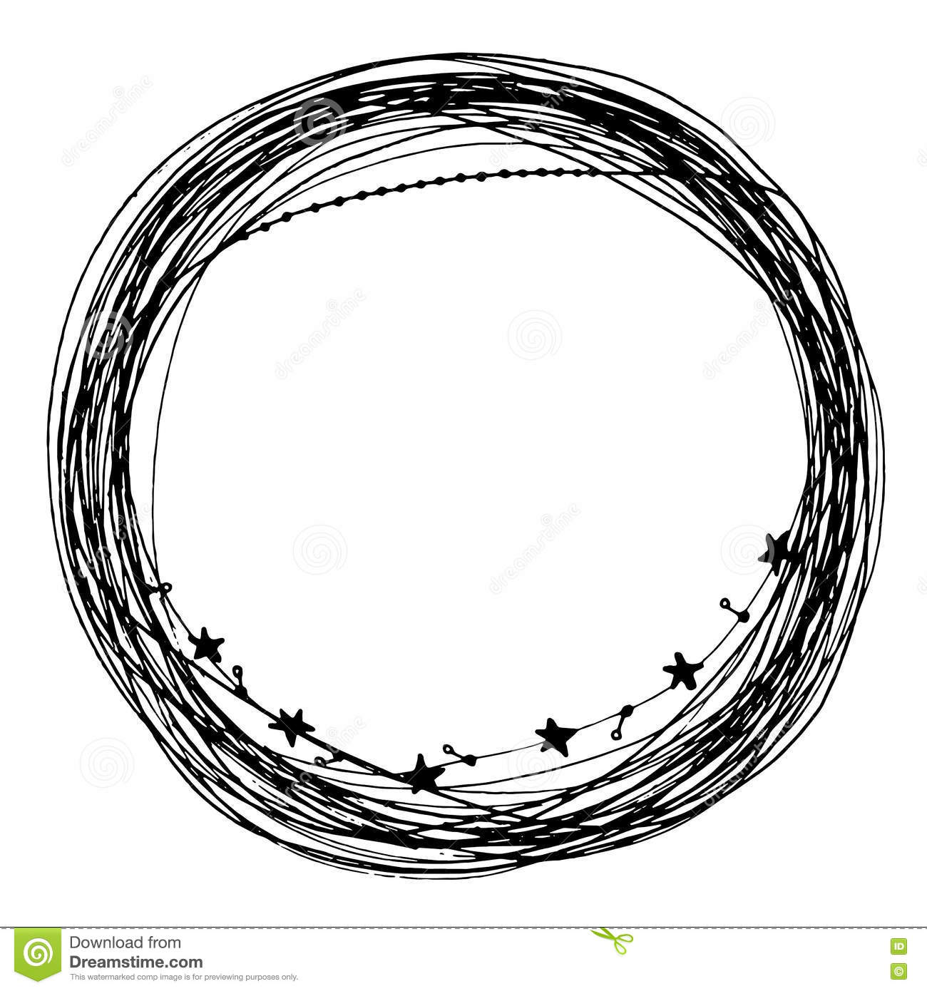 Circle Flora Decoration Frame Template Background In Line