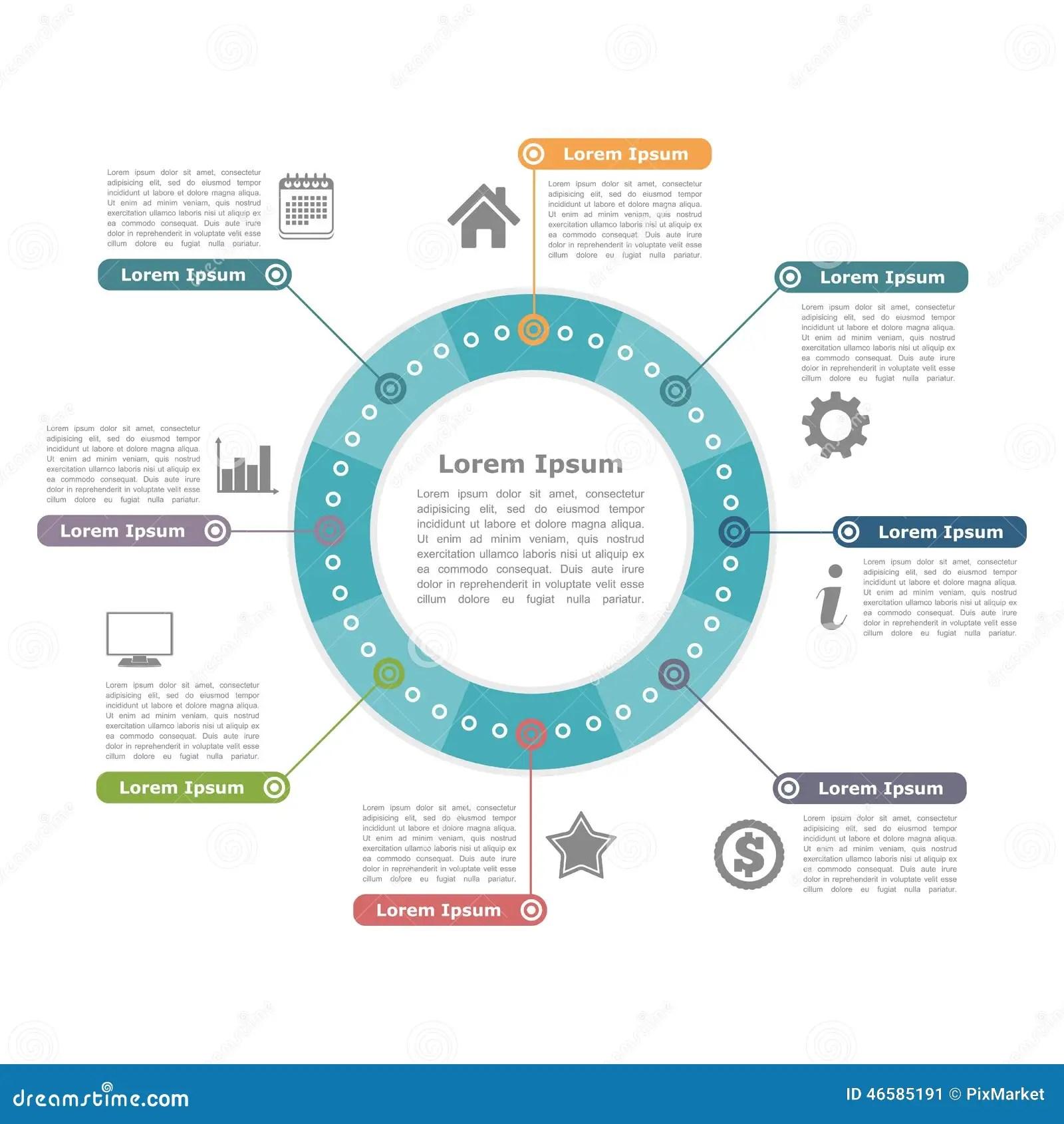 circular diagram flow chart template gate photocell wiring round infographics scheme cartoon vector