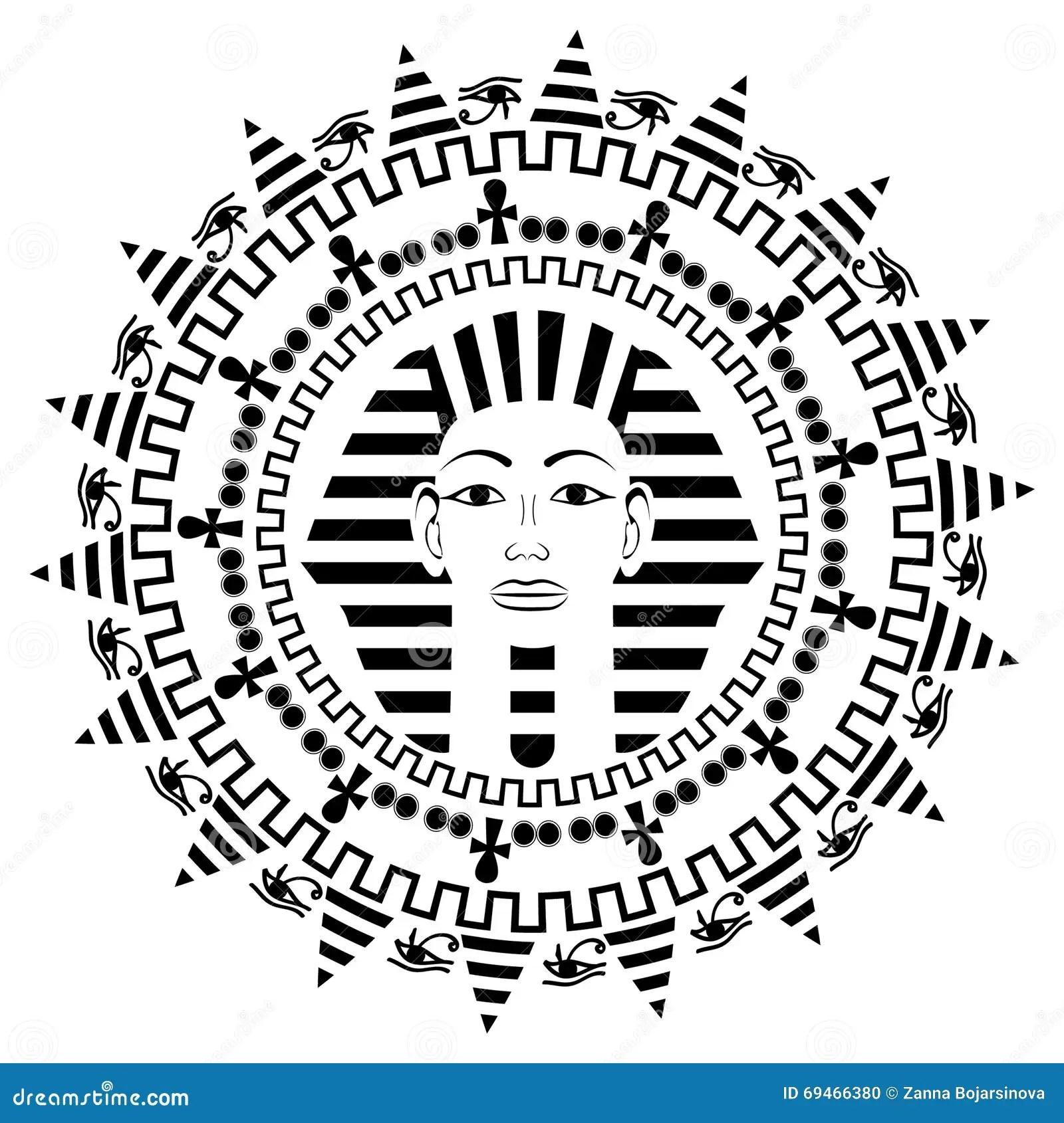 Circle Mandala With Pharaoh Tutankhamun Stock Vector