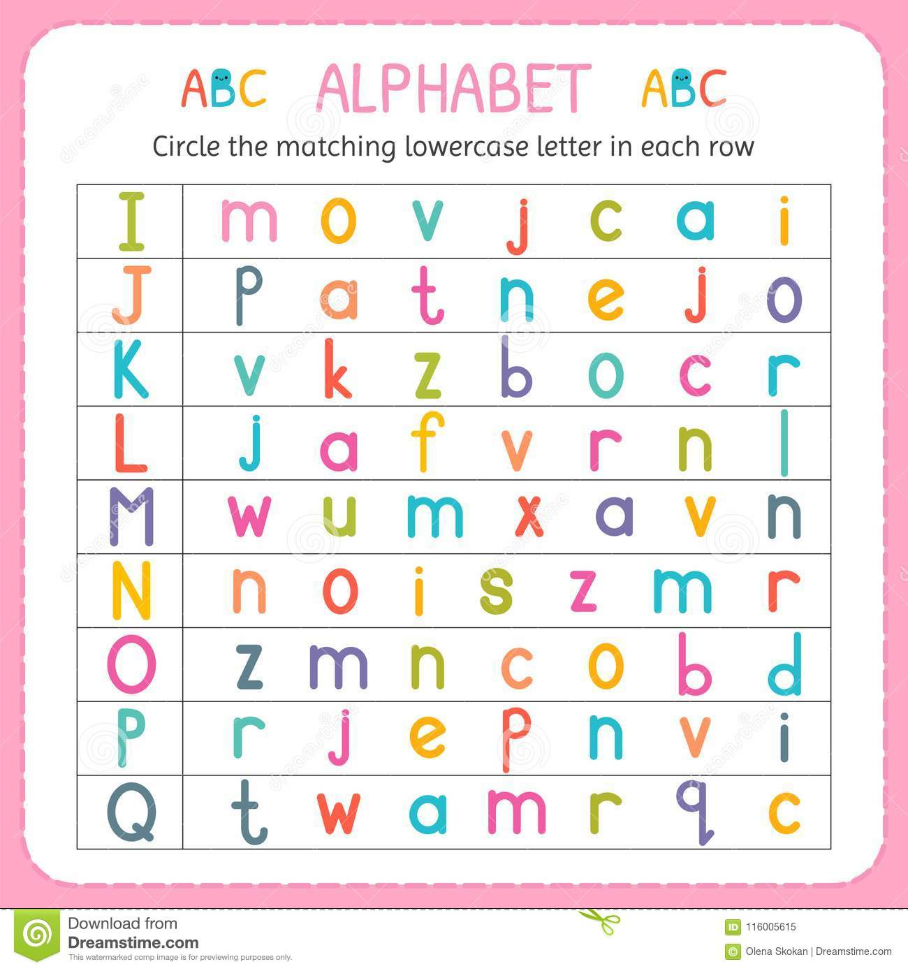 Circle The Matching Lowercase Letter In Each Row From I