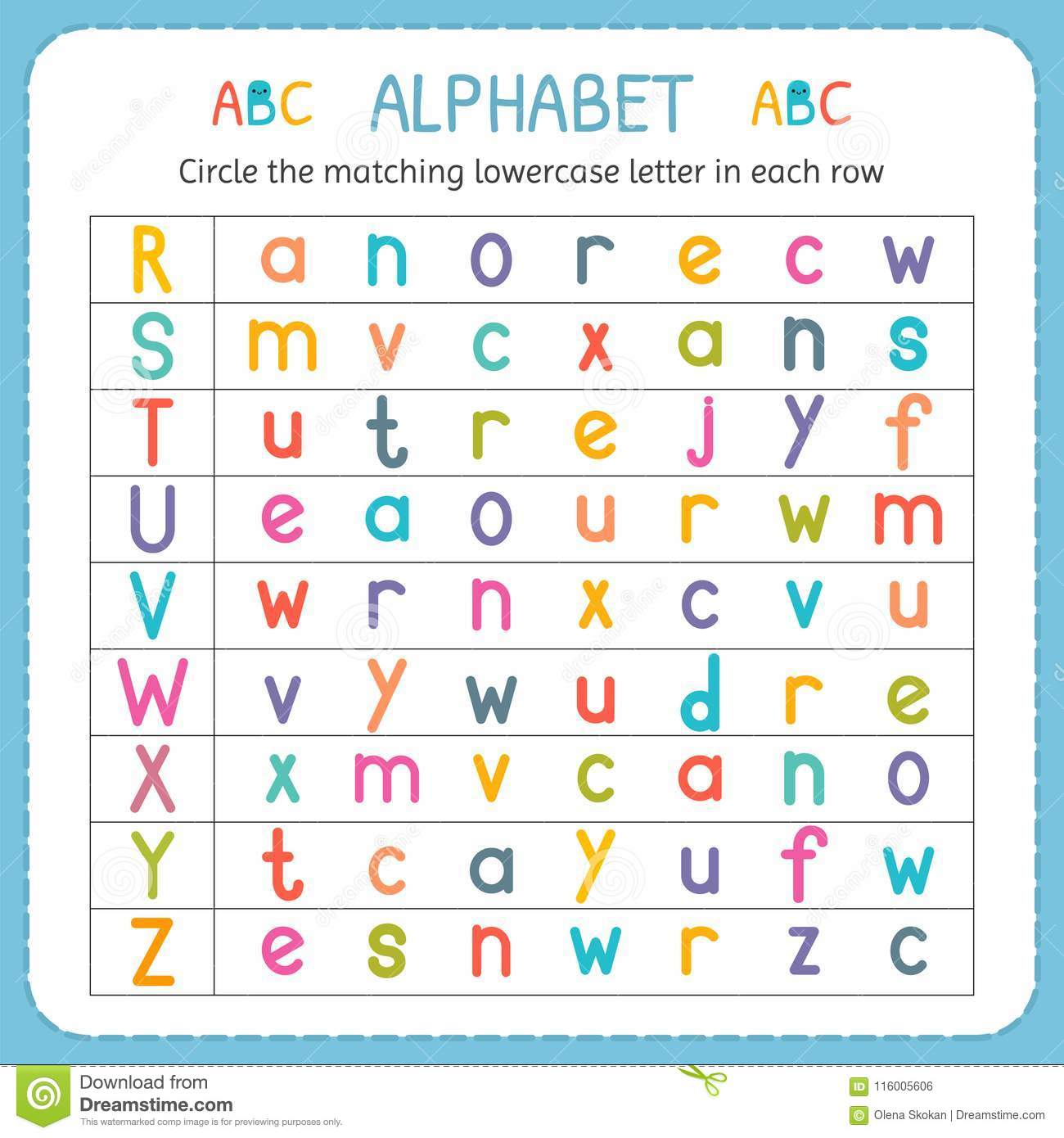 Circle The Matching Lowercase Letter In Each Row From R To Z Worksheet For Kindergarten And