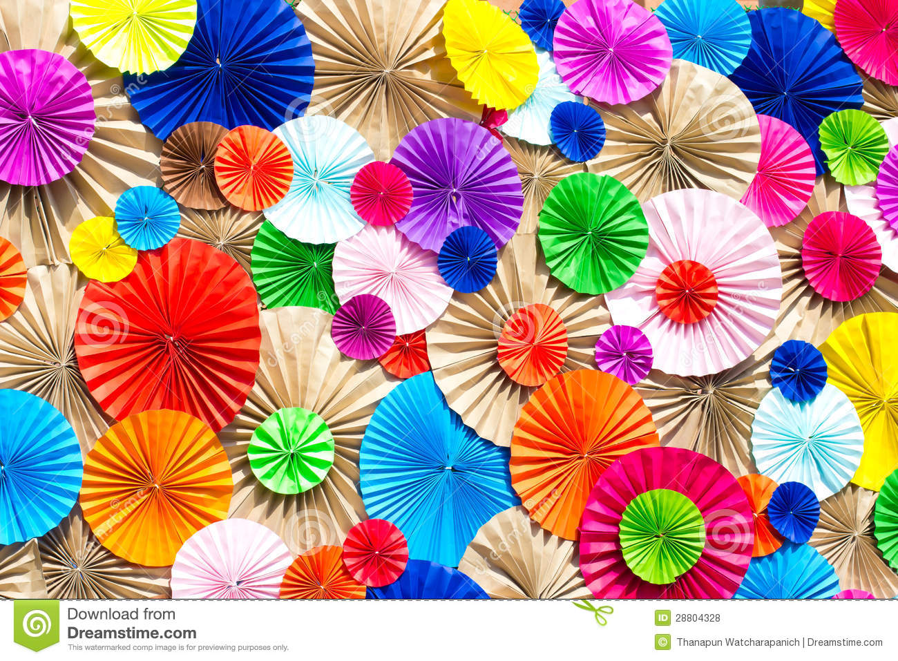 Circle Radial Pattern Origami Paper Craft Colorful Stock