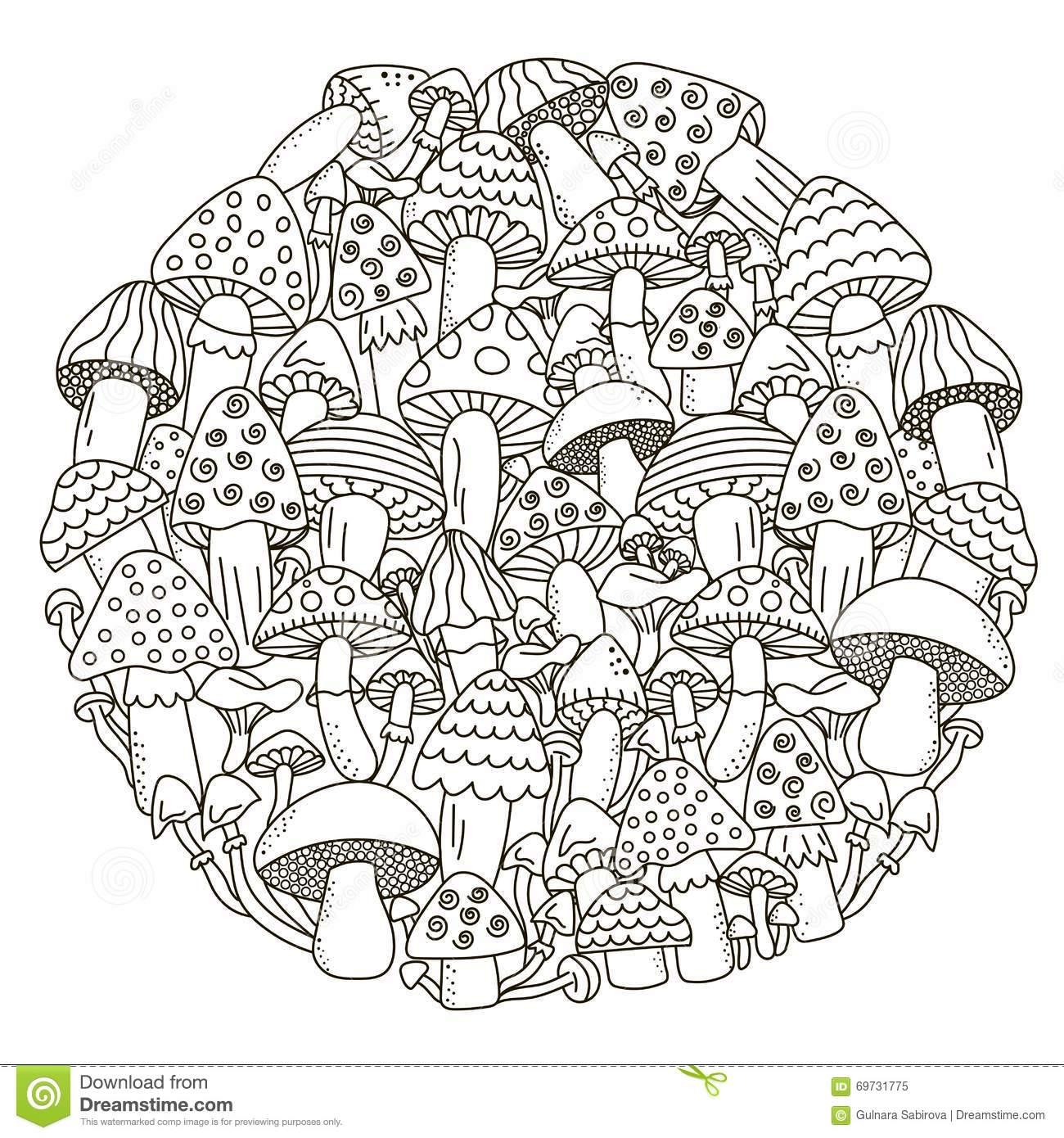 Circle Shape Pattern With Fantasy Mushrooms For Coloring