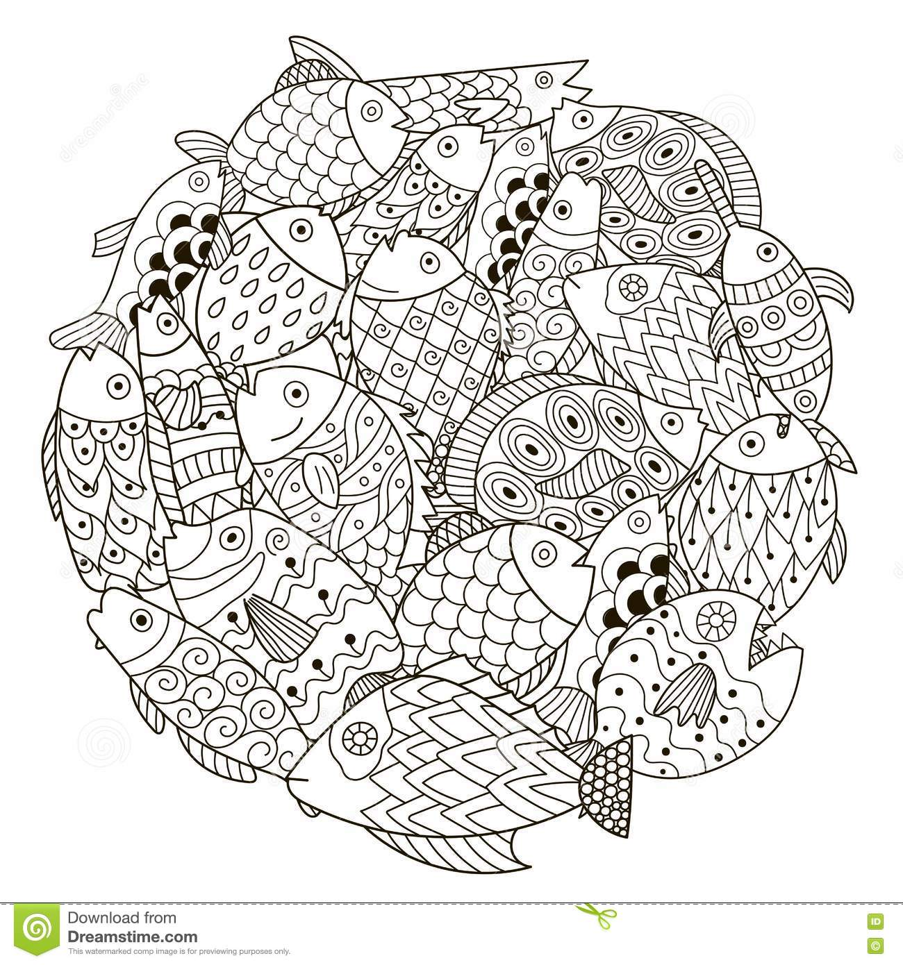 Circle Shape Pattern With Ornamental Fish For Coloring