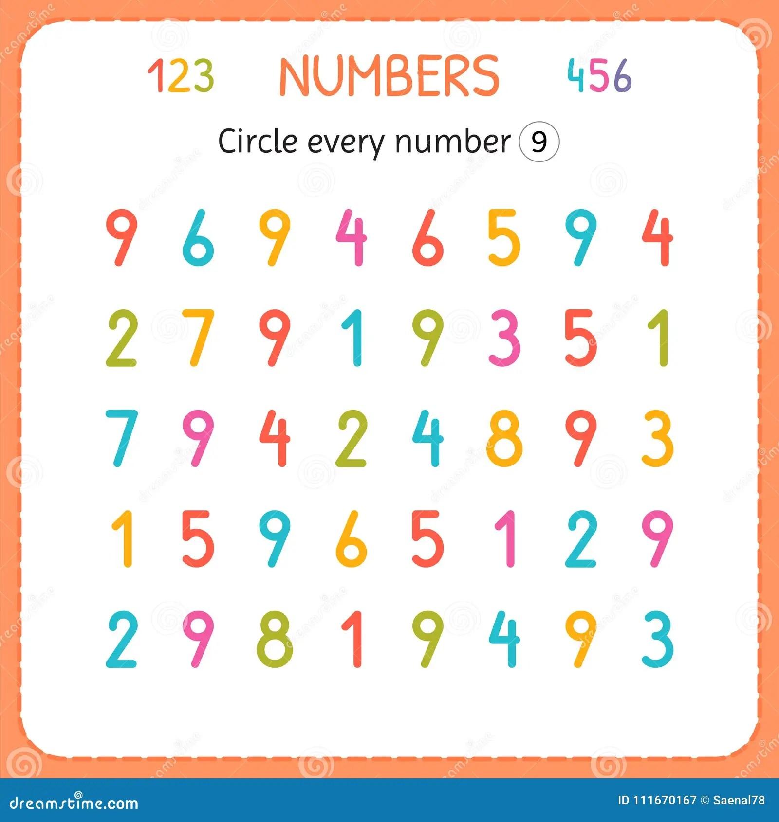 Circondi Ogni Numero Nove Numeri Per I Bambini Foglio Di