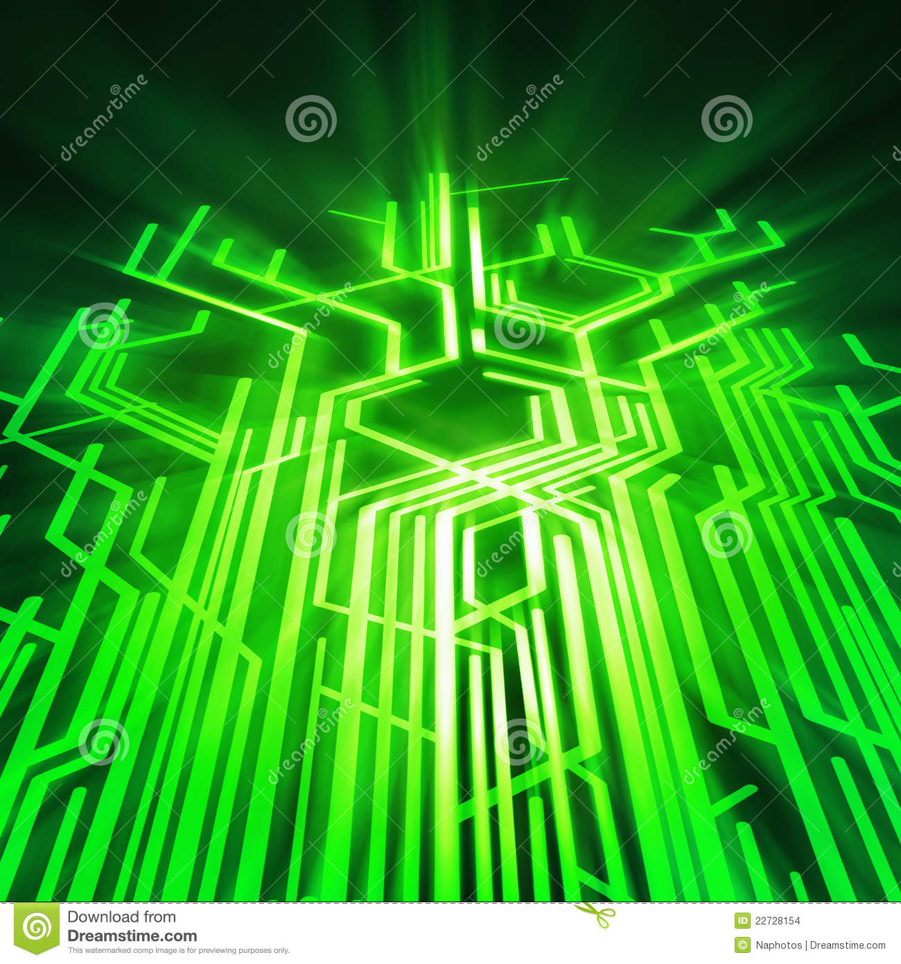 Black Circuit Board With Blue Connection Links Stock Photo Image