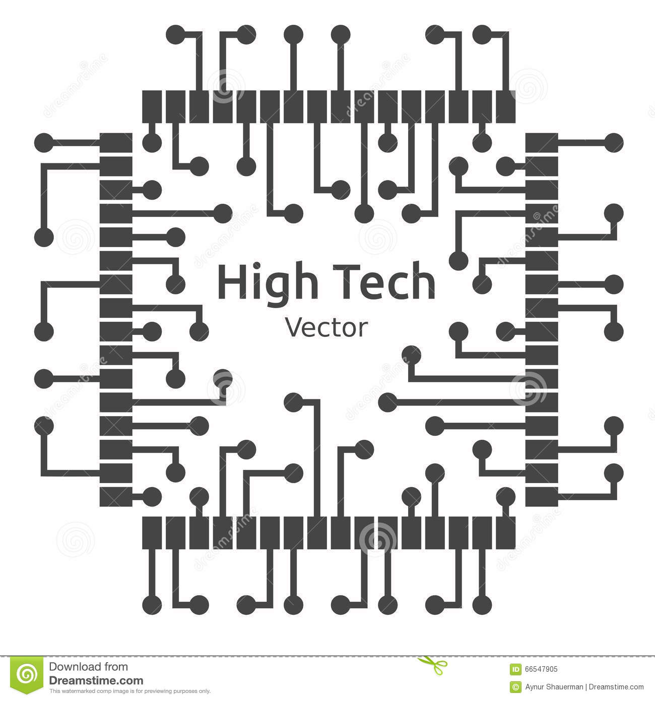 Circuit Board Of High Technological Chip, Vector