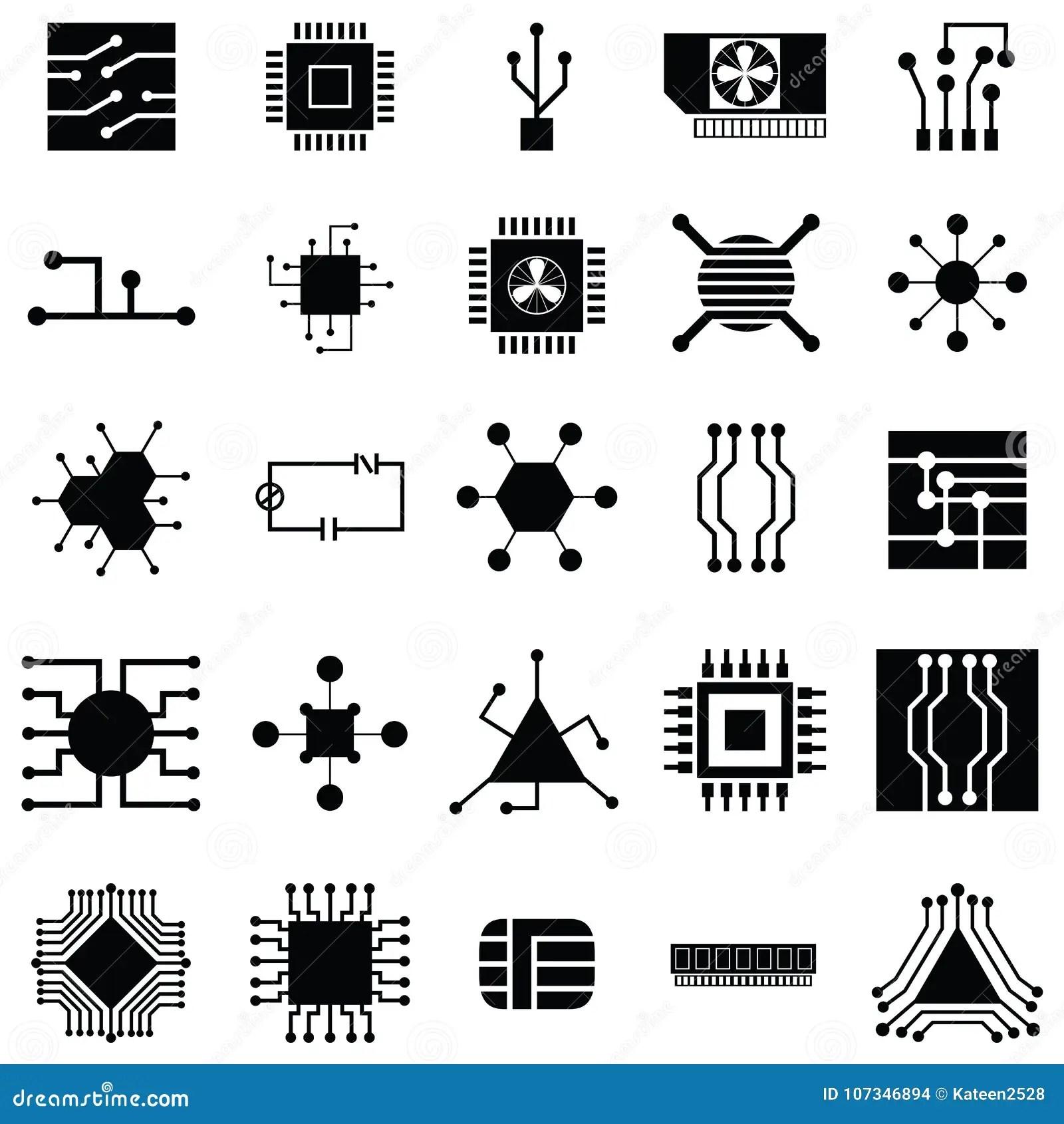 Circuit Board Icon Set Stock Vector Illustration Of