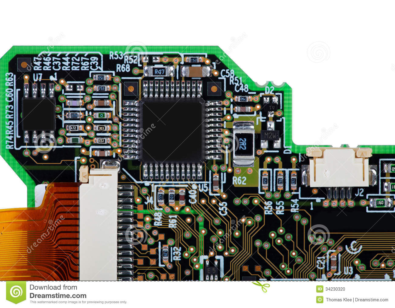 View Of An Assembled Circuit Board With Smd Components Isolated In