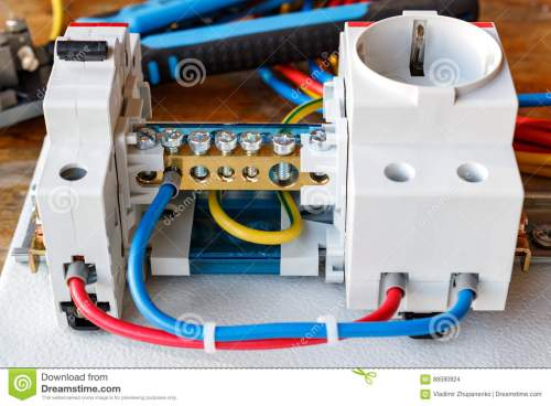 small resolution of circuit breaker wire terminal block and electrical socket with connected wires