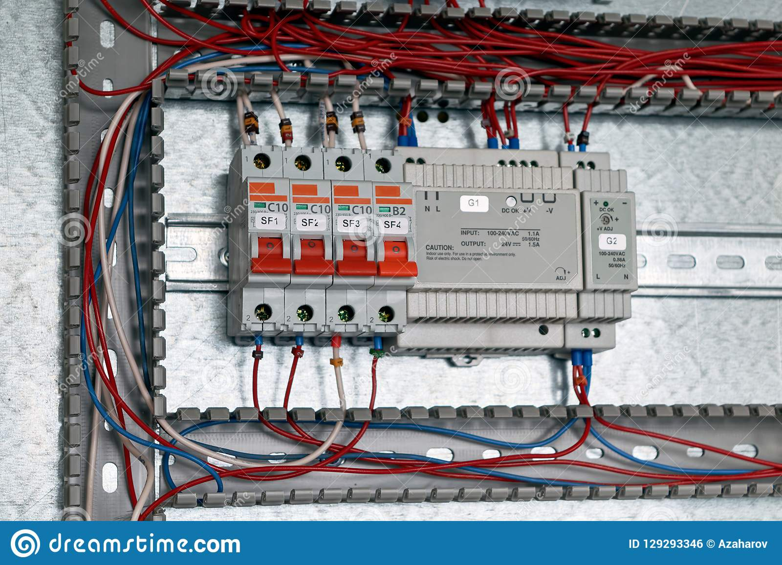 hight resolution of circuit breakers power supply with adjustment in the electrical cabinet