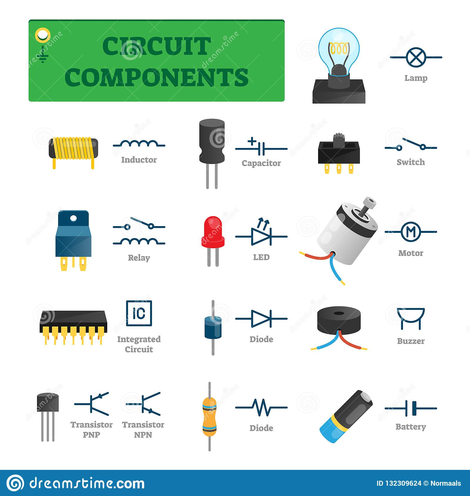 Circuit Components Vector Illustration List With Isolated
