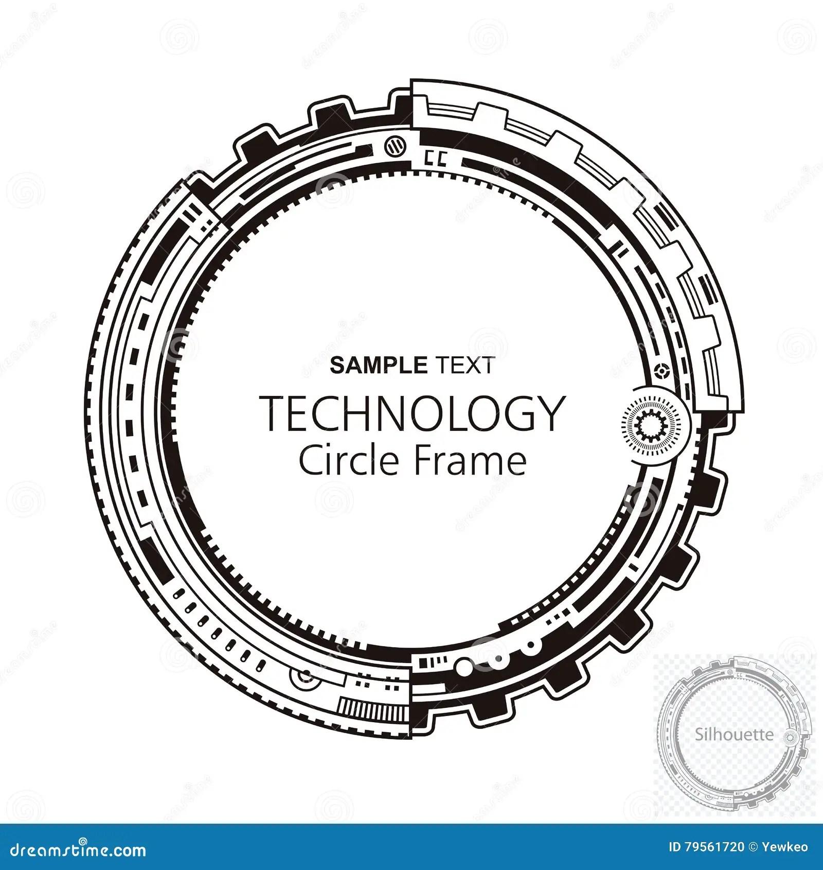 Circular Abstract Technology Frame Stock Vector