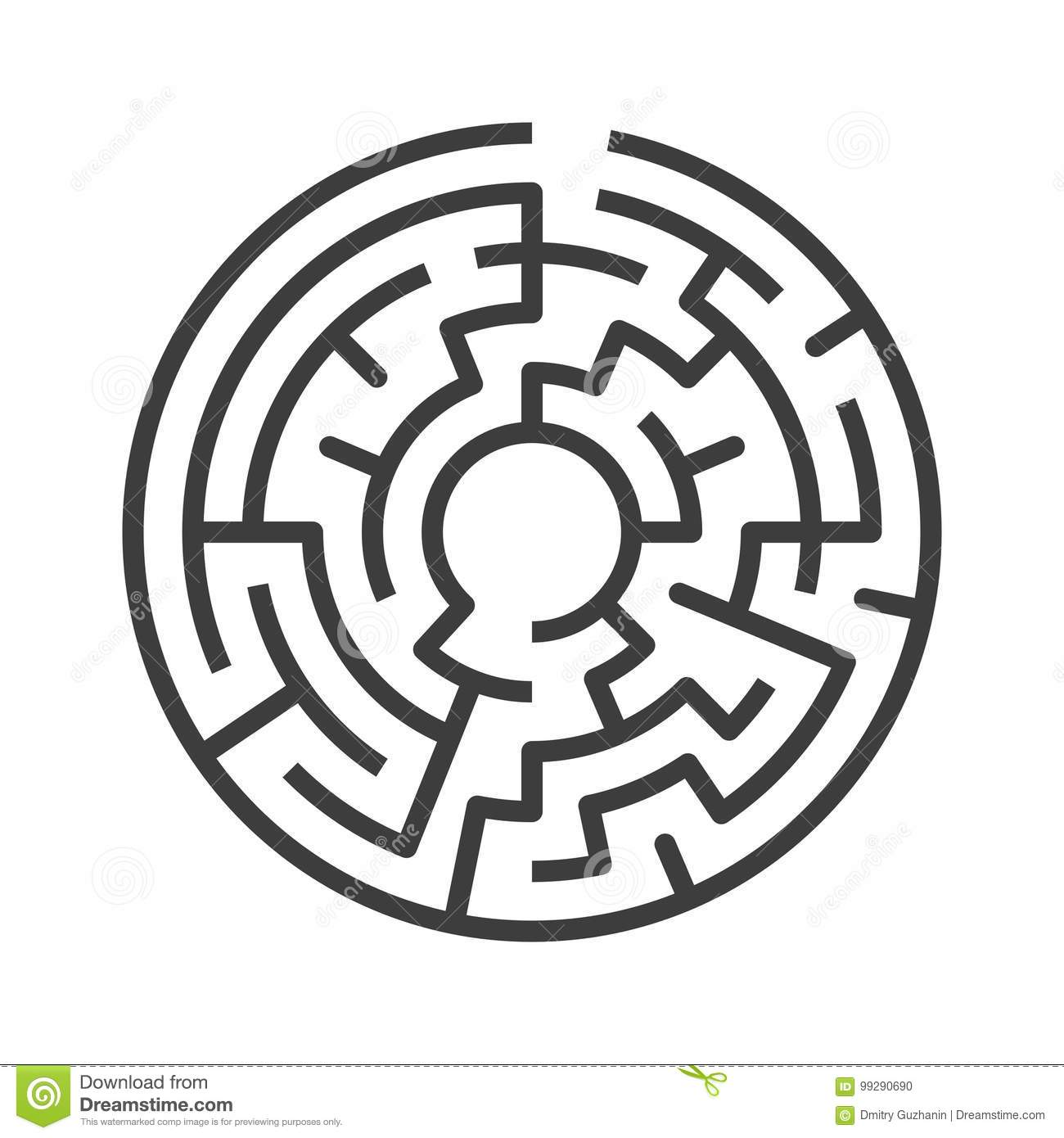 Circular maze isolated stock vector. Illustration of