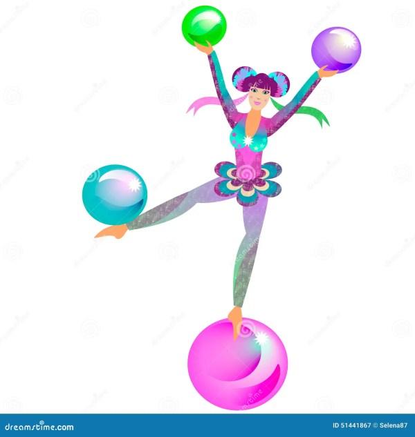 Circus Acrobat Girl Stock Vector. Illustration Of Jugglery