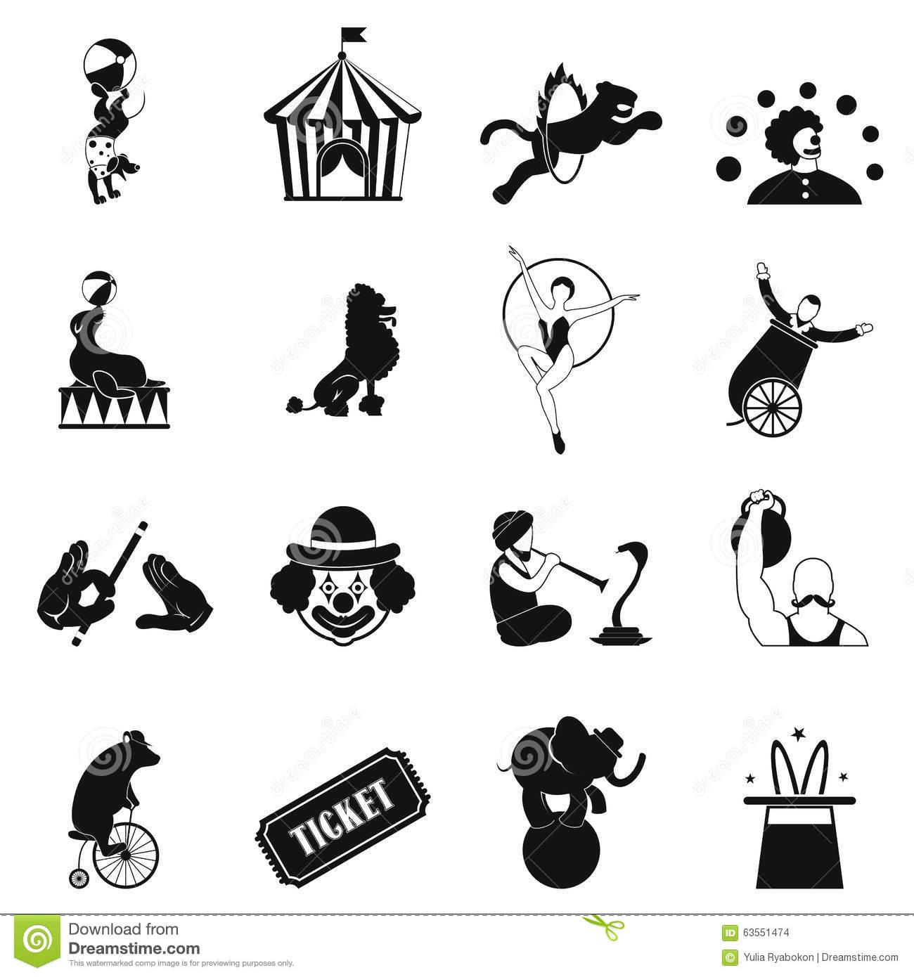 Circus Simple Icons Set Stock Vector