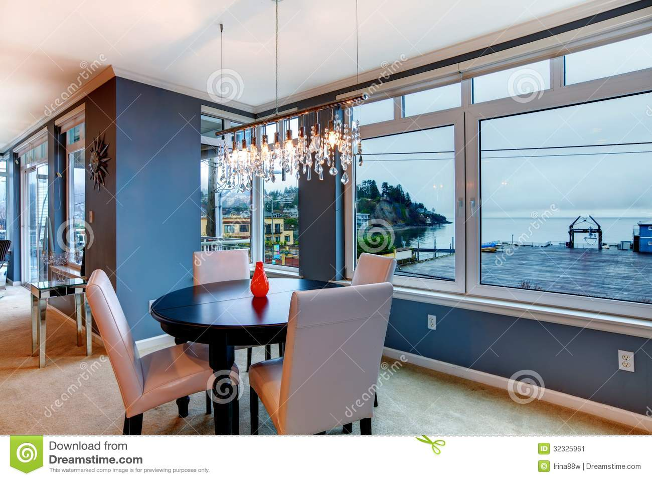 City Apartment Dining Room With Round Small Table And Blue Walls Stock Image Image Of Area House 32325961