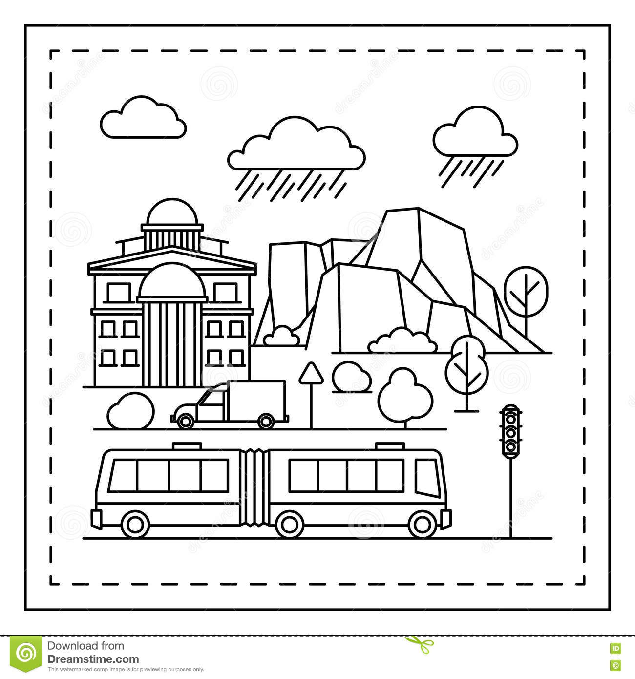 City Coloring Page For Kids Stock Vector