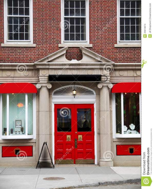 City Elegant Red Store Front Stock - Of