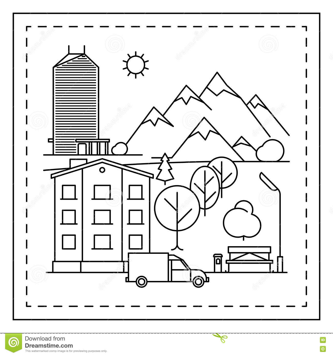 City Landscape Coloring Page For Kids Stock Vector