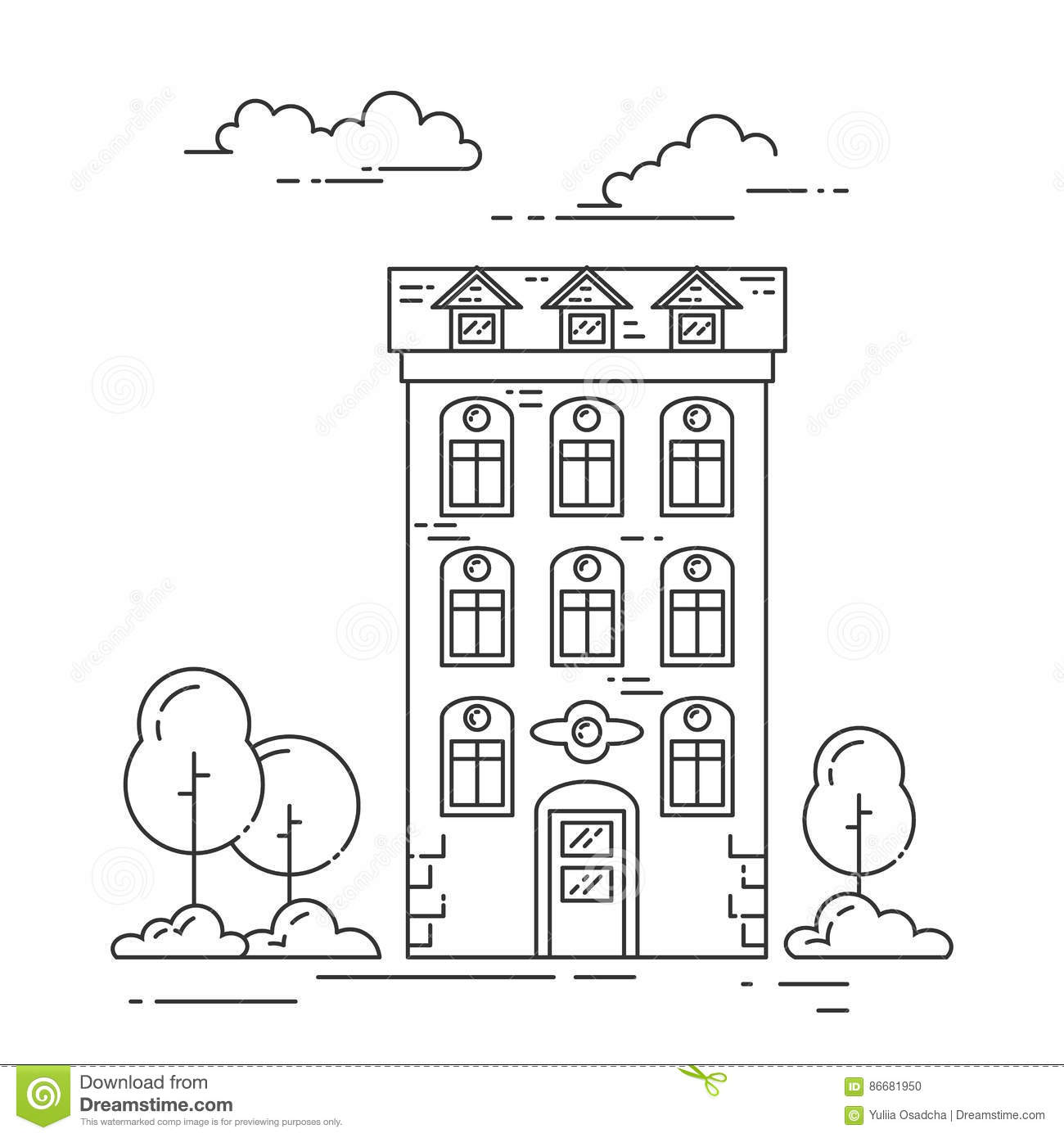 City Landscape With House, Trees And Clouds Line Art Stock