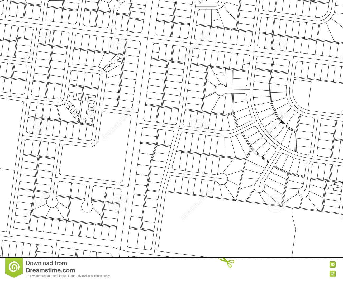City Map Autocad Drawing Black And White Royalty Free