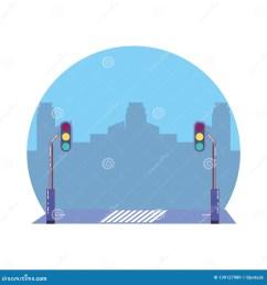 city road with traffic light scene icon [ 1600 x 1689 Pixel ]