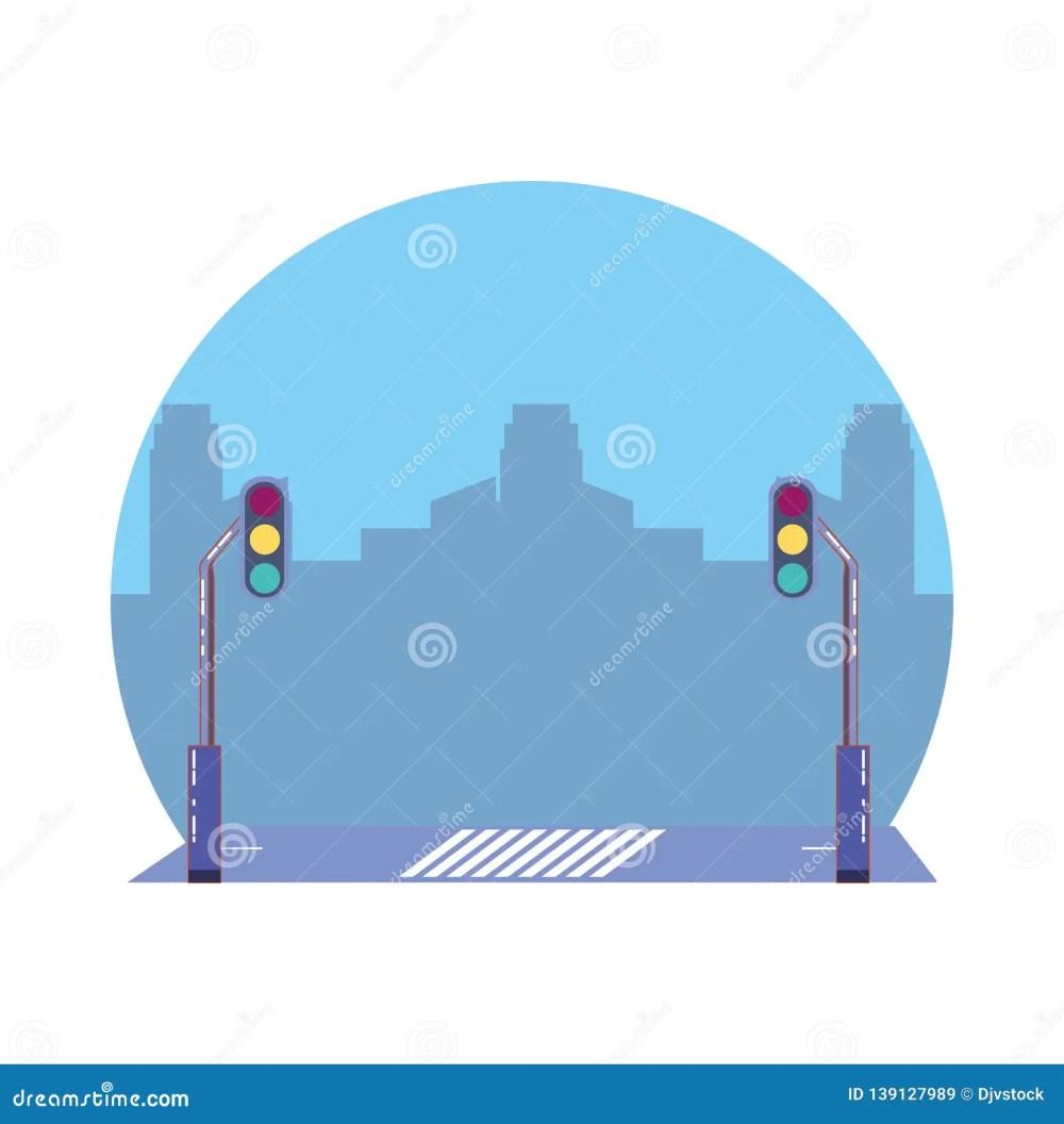 medium resolution of city road with traffic light scene icon
