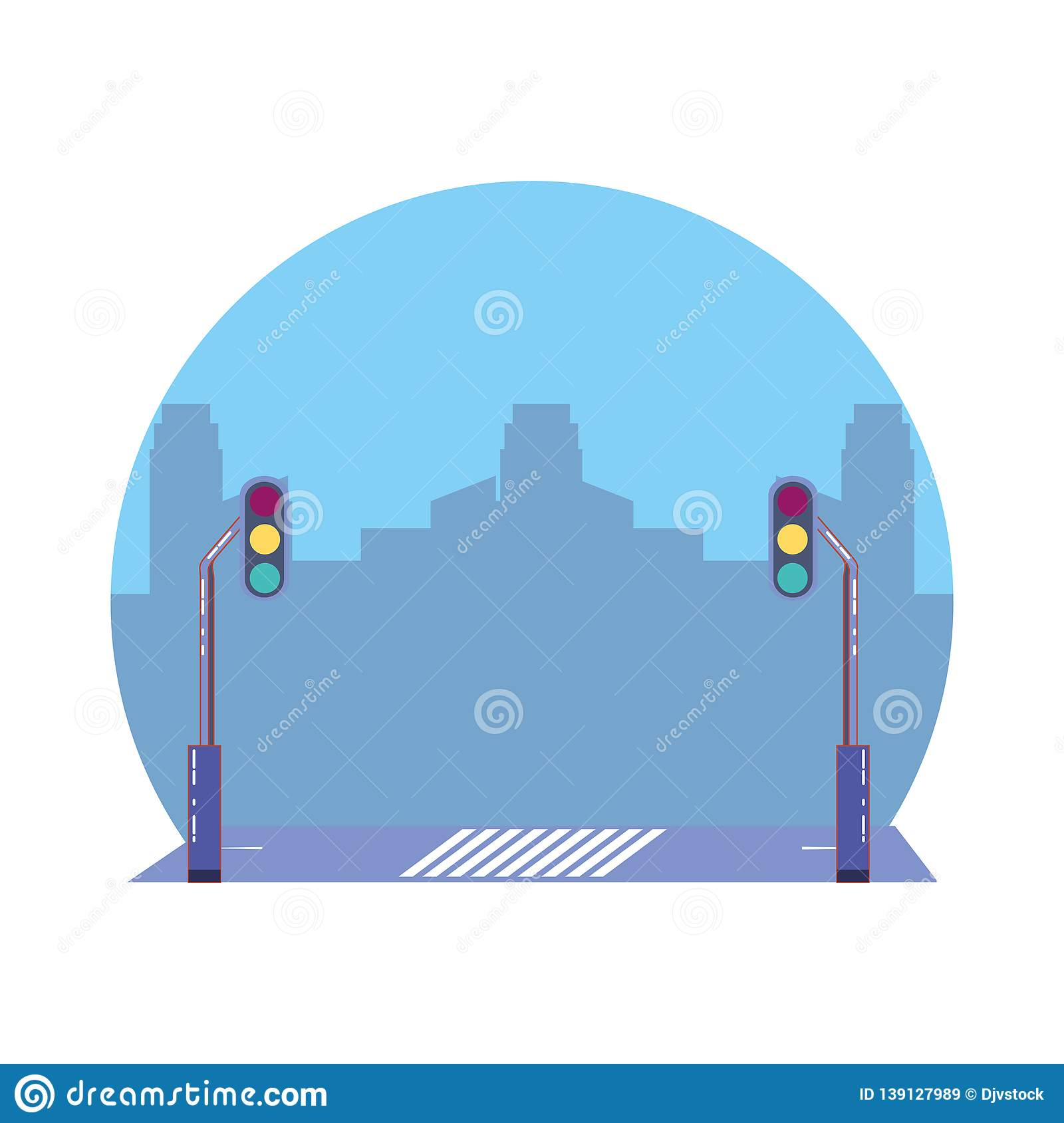 hight resolution of city road with traffic light scene icon
