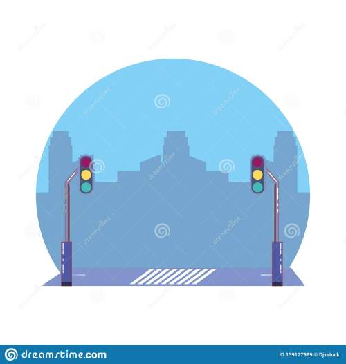 small resolution of city road with traffic light scene icon