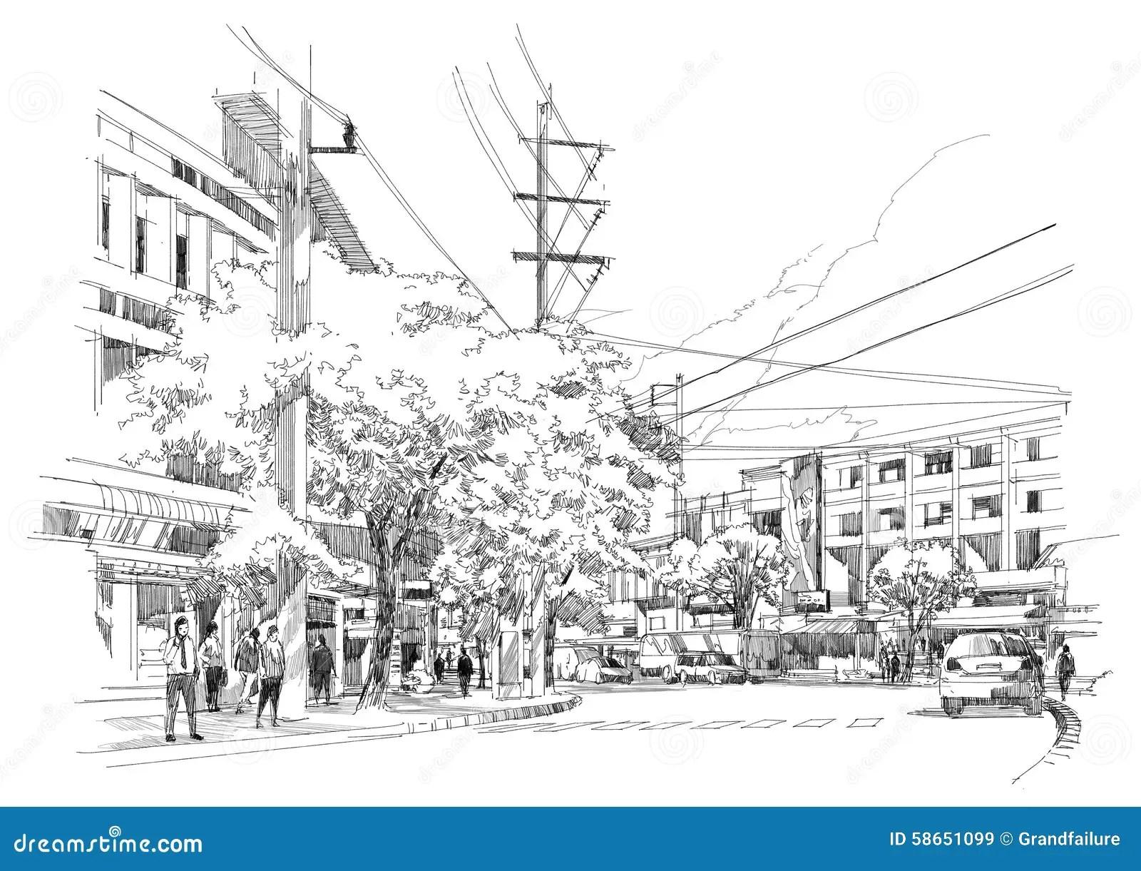 City Street Sketch Stock Illustration Image Of Building