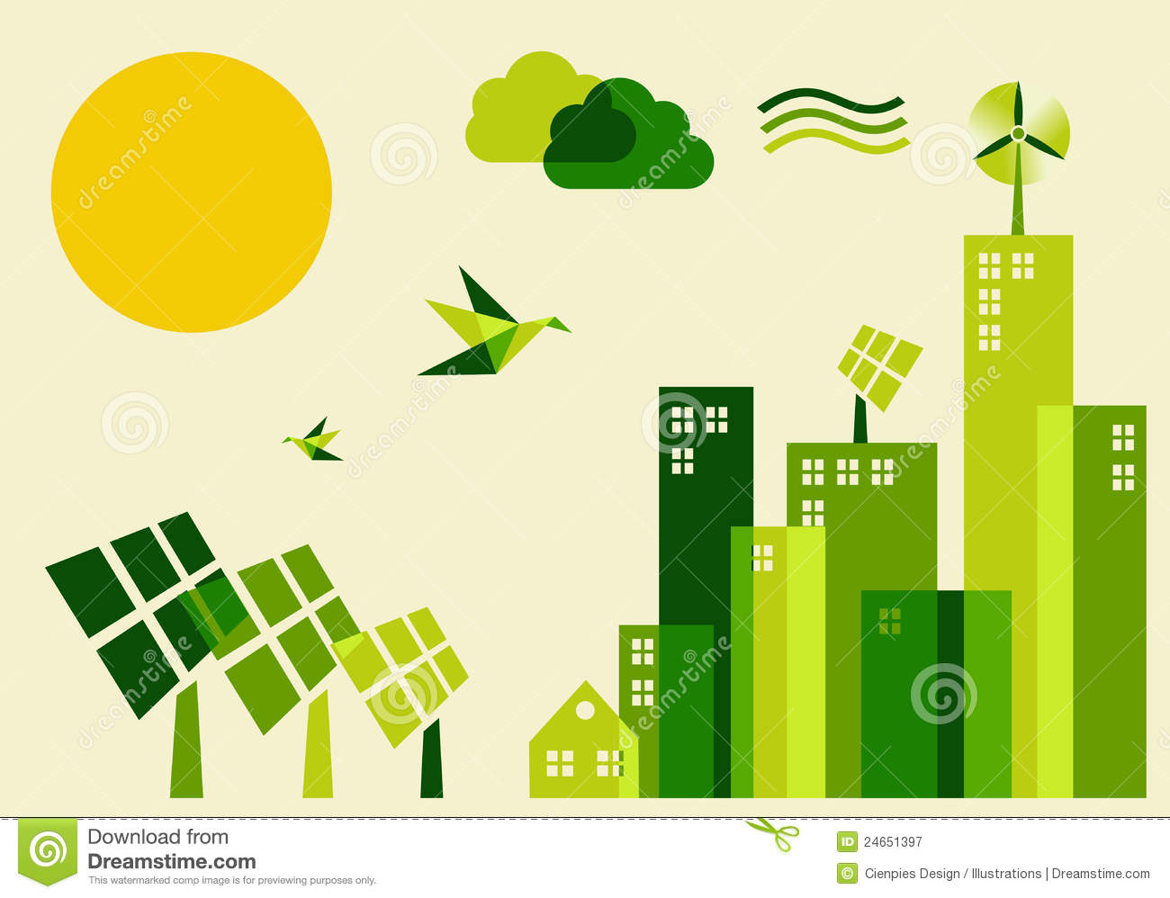 City Sustainable Development Concept Illustration Stock
