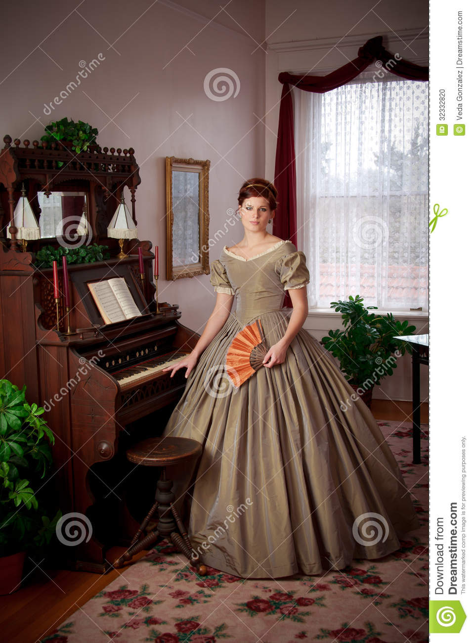 Civil War Historical Woman Standing By Pump Organ Stock Photo  Image of lounging 1860s 32332820
