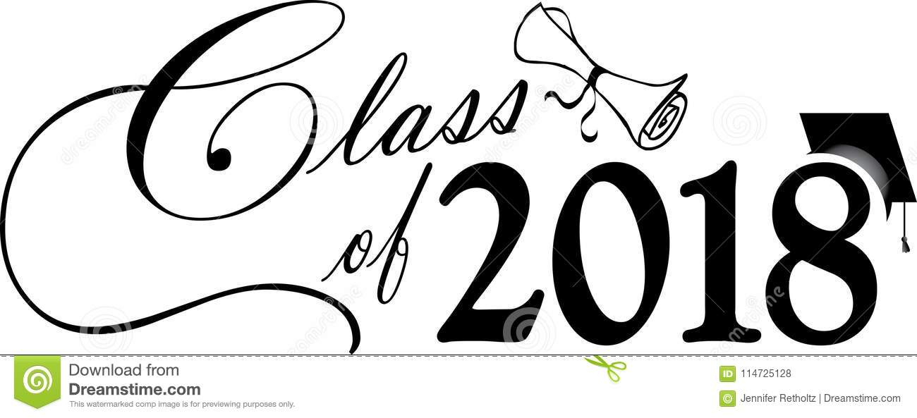 Class Of 2018 With Cap And Diploma Stock Illustration
