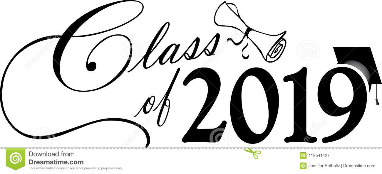 Class Of 2019 Script With Diploma And Graduation Cap Stock