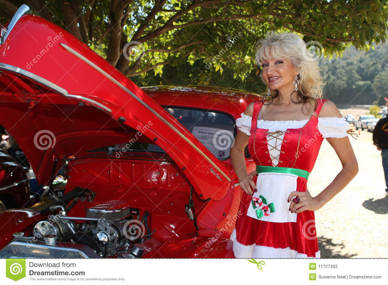 Classic Car And Christmas Dirndl Woman Stock Photo Image