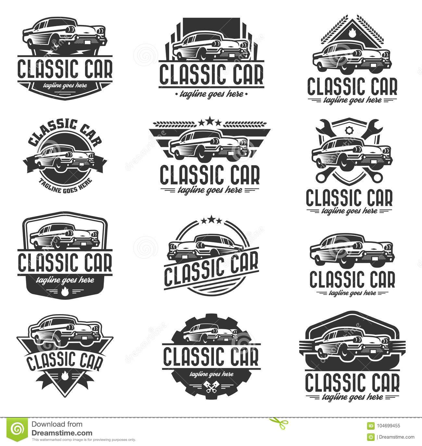 Classic Car Logo Template, Vintage Car Logo, Retro Car