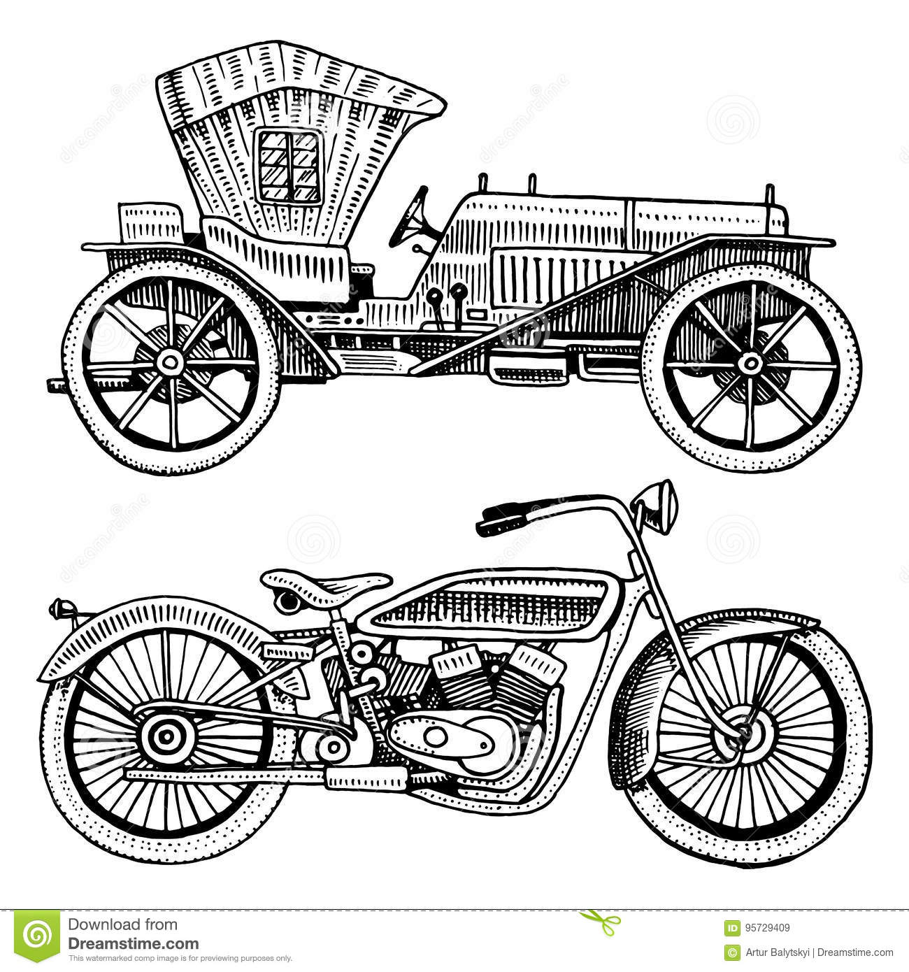 Classic Car Machine Or Engine And Motorcycle Or Motorbike