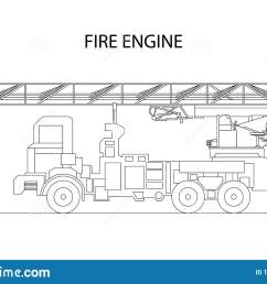 classic cartoon hand drawn detailed fire engine fire truck profile view vector [ 1600 x 1049 Pixel ]
