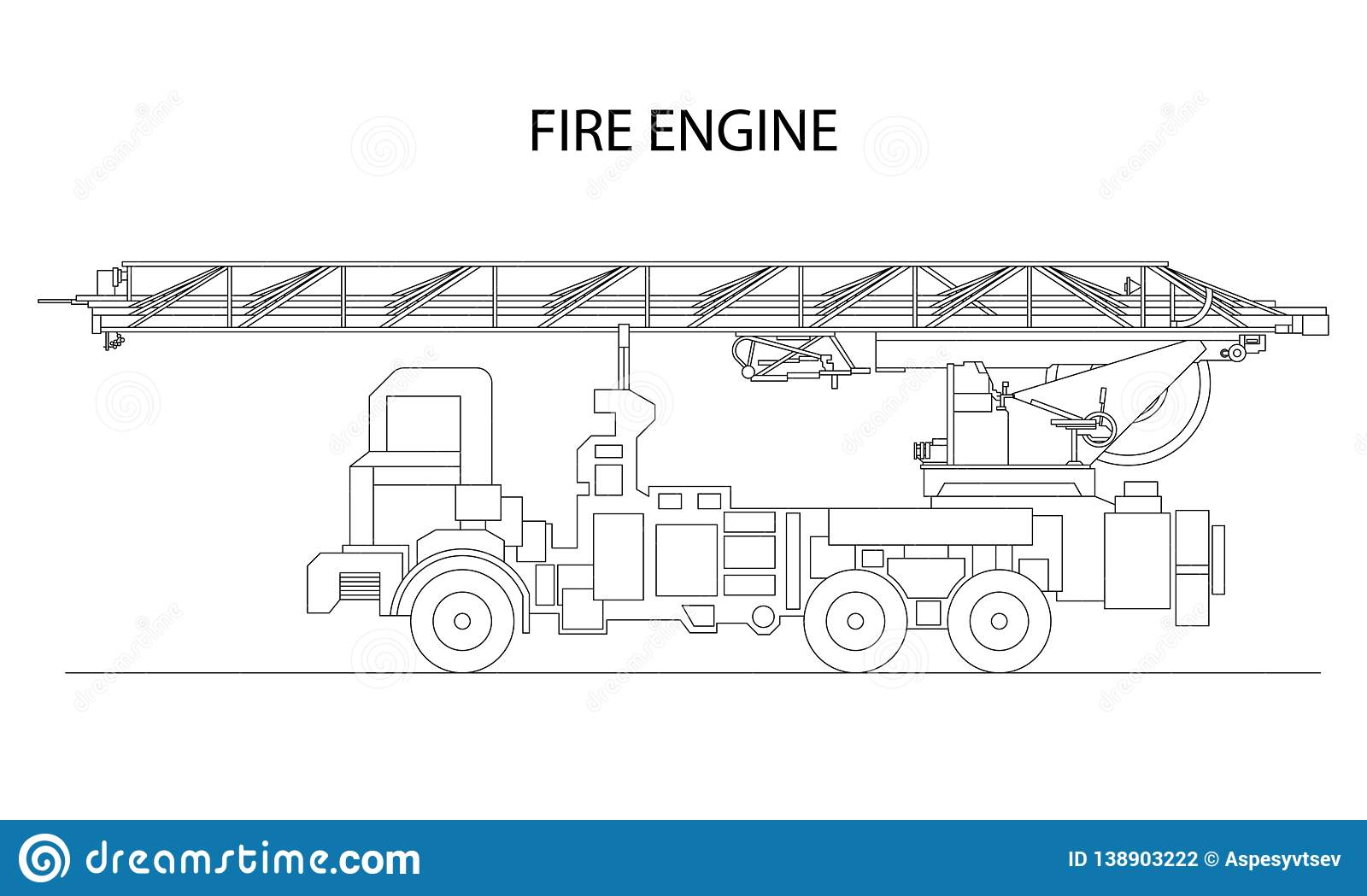 hight resolution of classic cartoon hand drawn detailed fire engine fire truck profile view vector