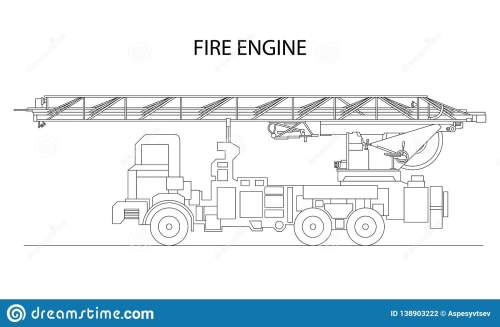 small resolution of classic cartoon hand drawn detailed fire engine fire truck profile view vector