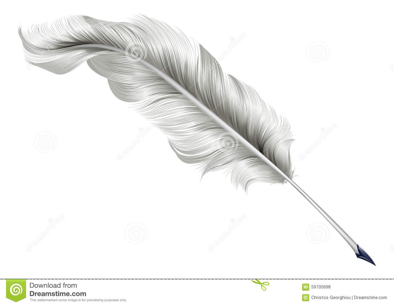 Classic Feather Quill Illustration Stock Vector